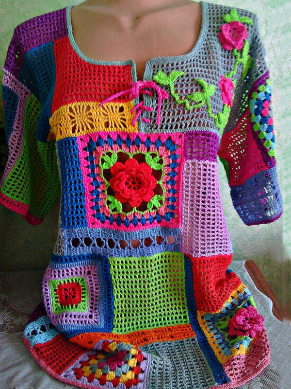Multicolor Crocheted Knitted Vintage Sweater