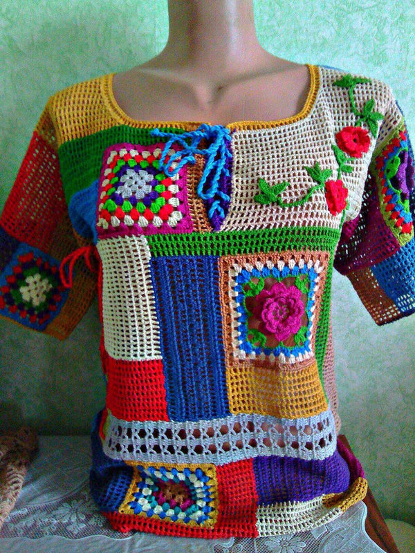 Multicolor Paneled Knitted Sweater