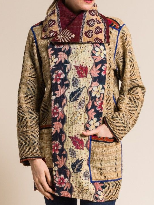 Shawl Collar Vintage Printed Outerwear