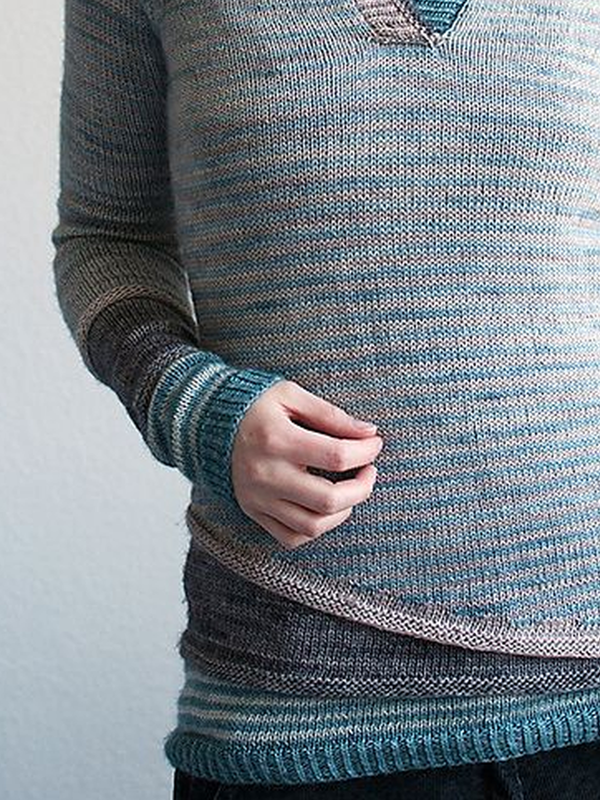 Blue Wool Blend Long Sleeve Crew Neck Sweater