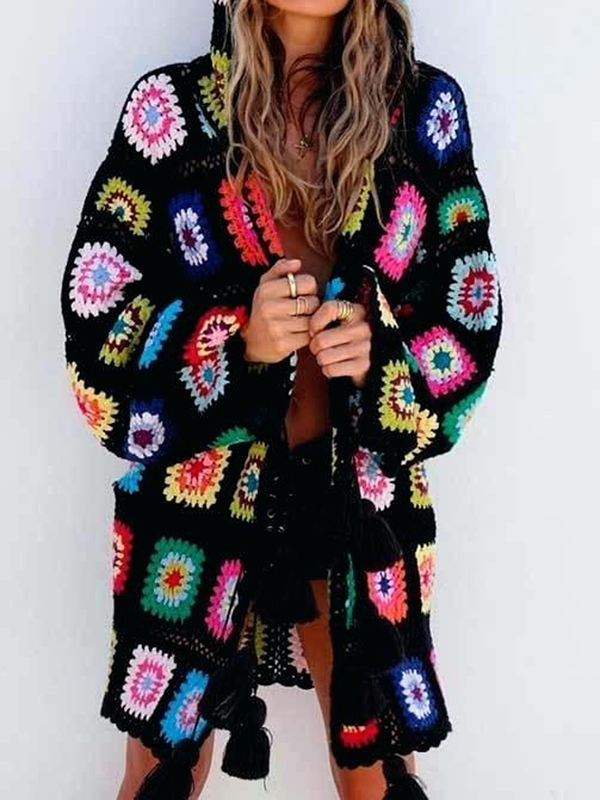 Black Tribal Long Sleeve Holiday Outerwear