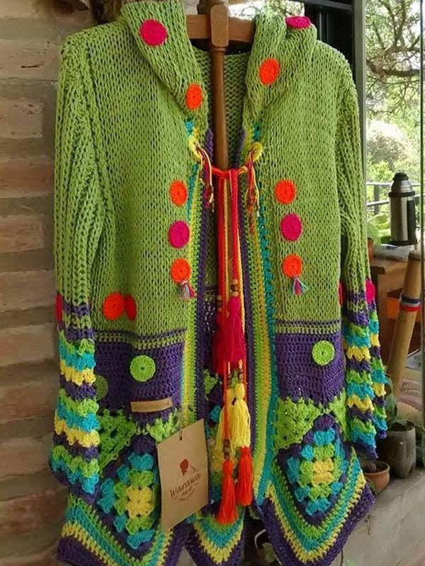 Knitting Plus size rainbow coat