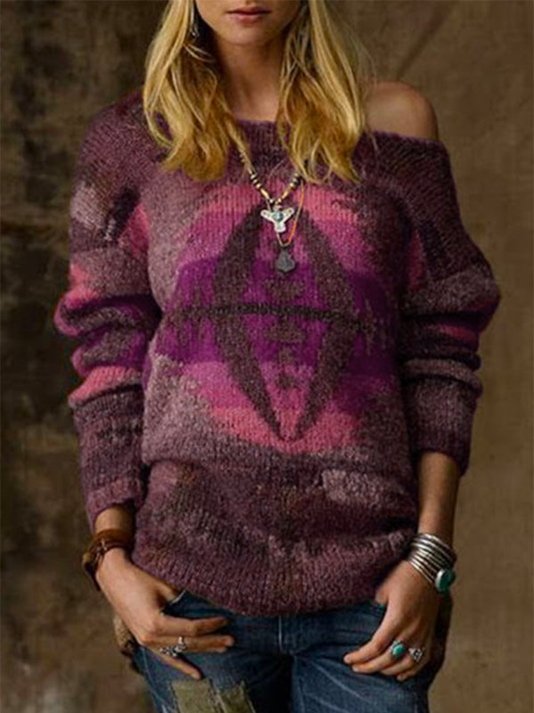 Long Sleeve Knitted Scoop Neckline Sweater