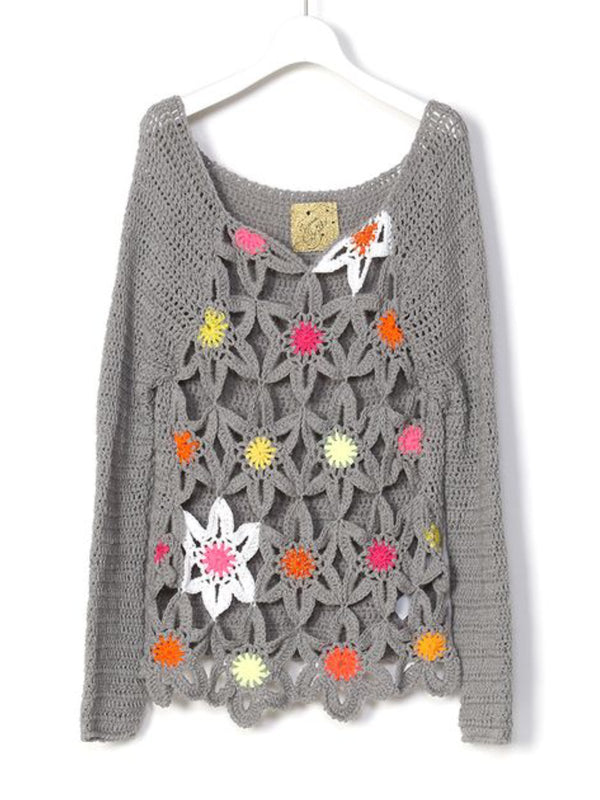 Gray Cutout Crew Neck Casual Sweater