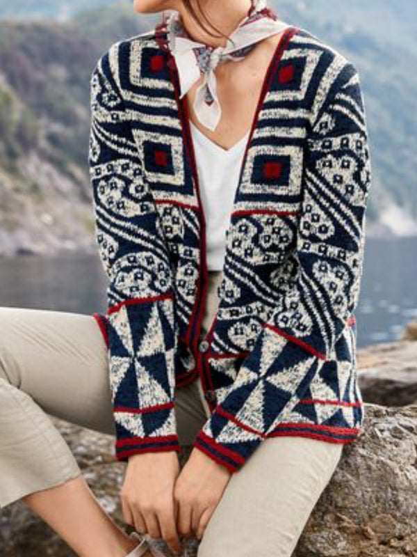 Tribal Long Sleeve Paneled Knitted Cardigan