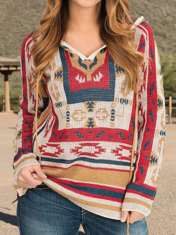 Red Patchwork Knitted Long Sleeve Shirts & Tops