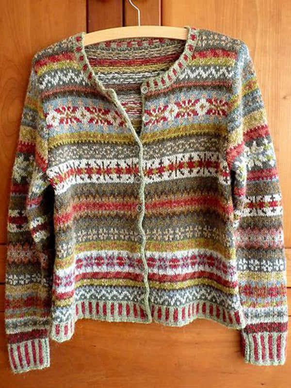 Multicolor Knitted Tribal Buttoned Long Sleeve Outerwear