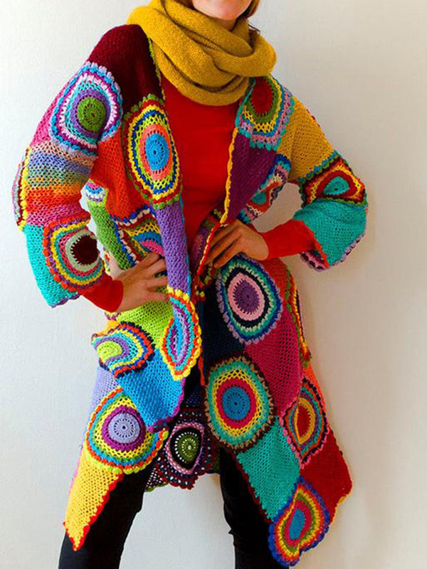 Multicolor Geometric Knitted Long Sleeve Cardigans
