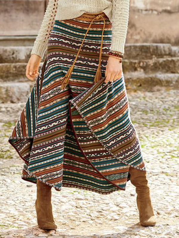 Color Knitted Geometric Vintage Skirts