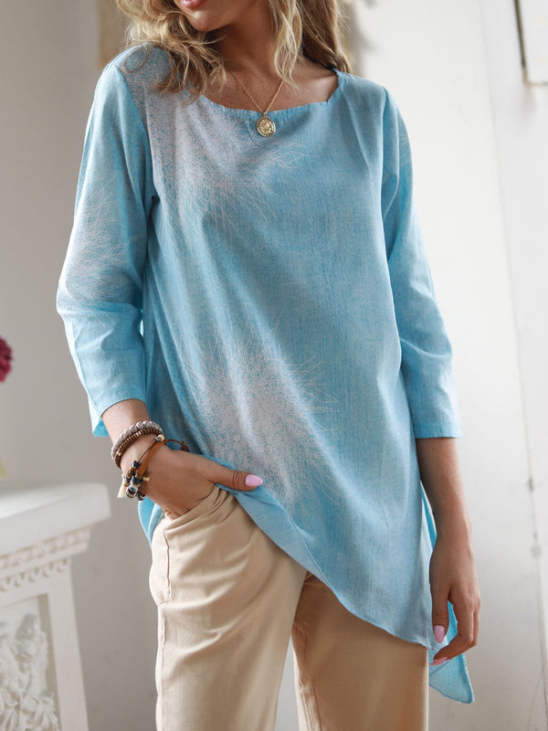 Printed Long Sleeve Casual  Crew Neck Printed Linen Tops