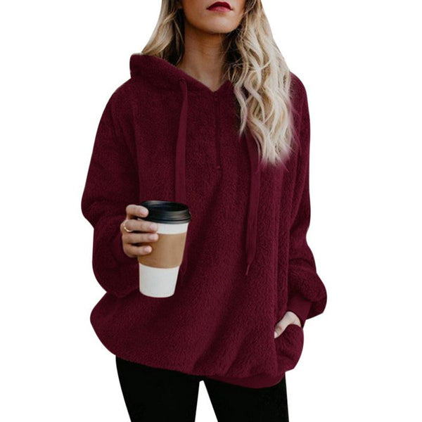 Autumn Winter Fleece Long-sleeved Solid Color Hoodies And Sweatshirts