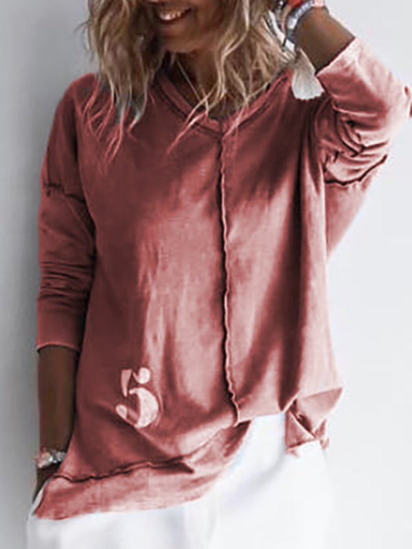 Women Casual Solid V Neck Long Sleeve Sweatshirt