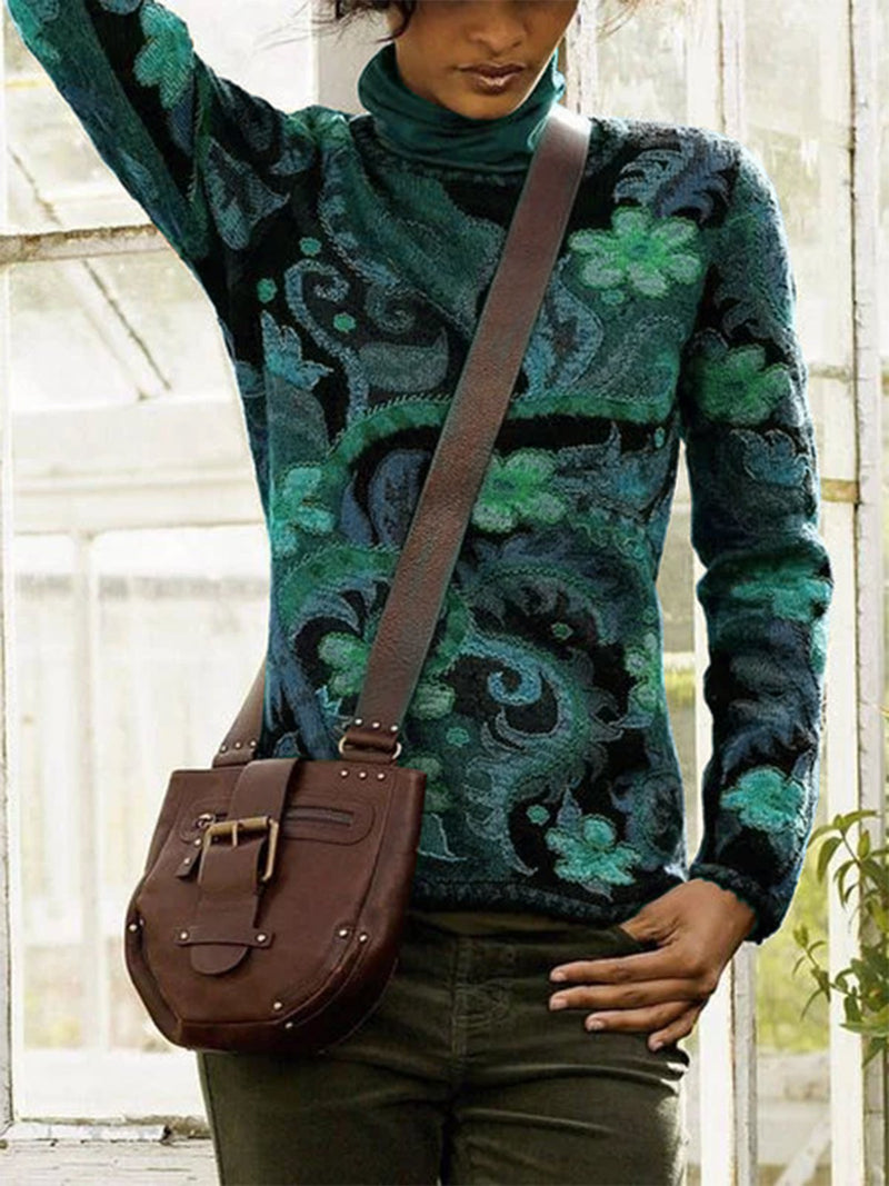 Black-Green Floral Cotton-Blend Long Sleeve Sweater