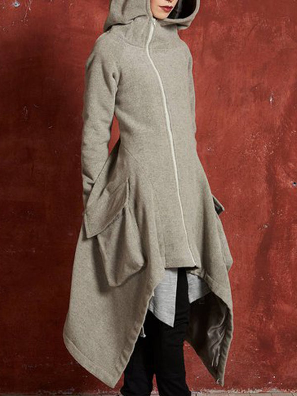 Gray Casual Solid Long Sleeve Hoodie Zipper Pockets Coat