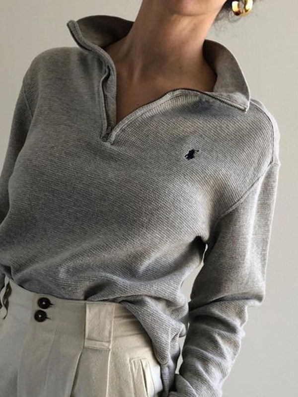 Woman Zipper Solid Stand Collar Casual Long Sleeves Sweatshirt Shirt&Tops