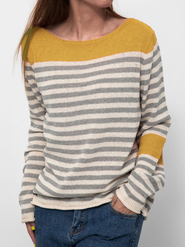 Plus Size Women Striped Color-block Casual Knitted Tops