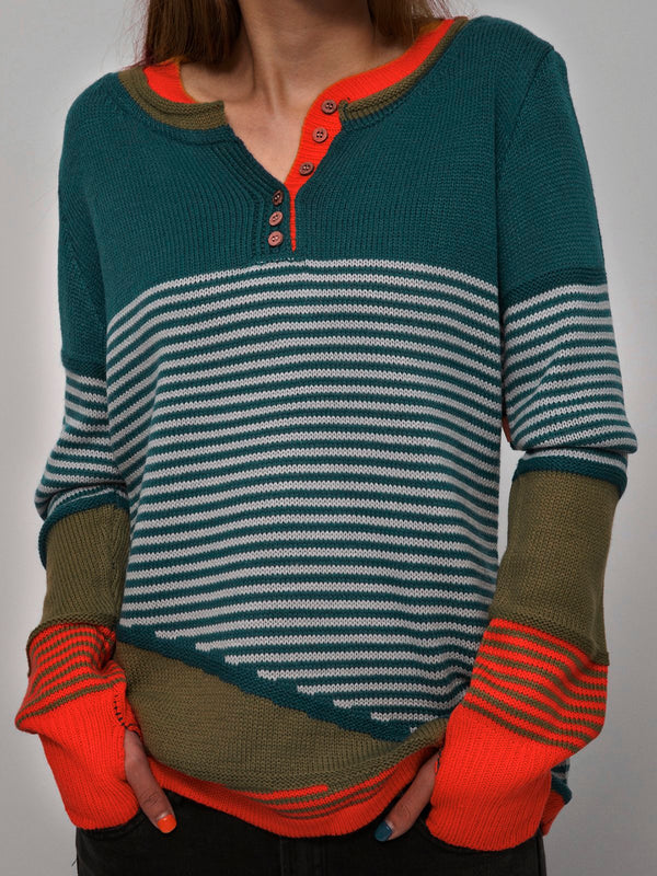 Striped Buttoned Color-block Knitted Tops