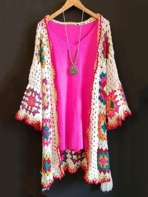 Multicolor Long Sleeve Knitted Outerwear