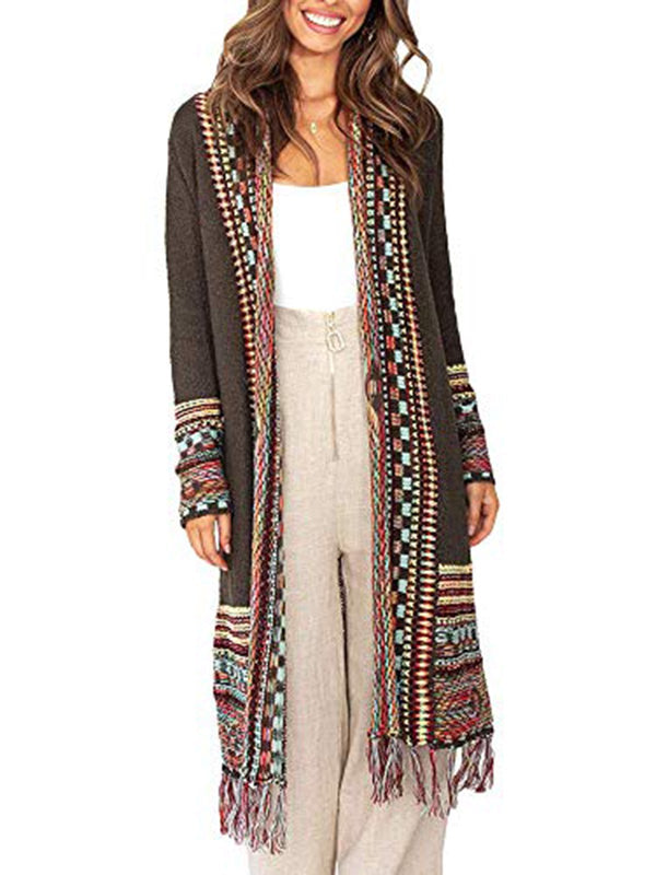 Brown Boho Cotton Tassles Knitted Outerwear