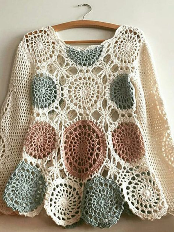 Multicolor Boho Knitted Tops