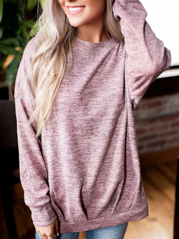 Plus Size Cotton Long Sleeve Solid Round Neck Sweatshirts