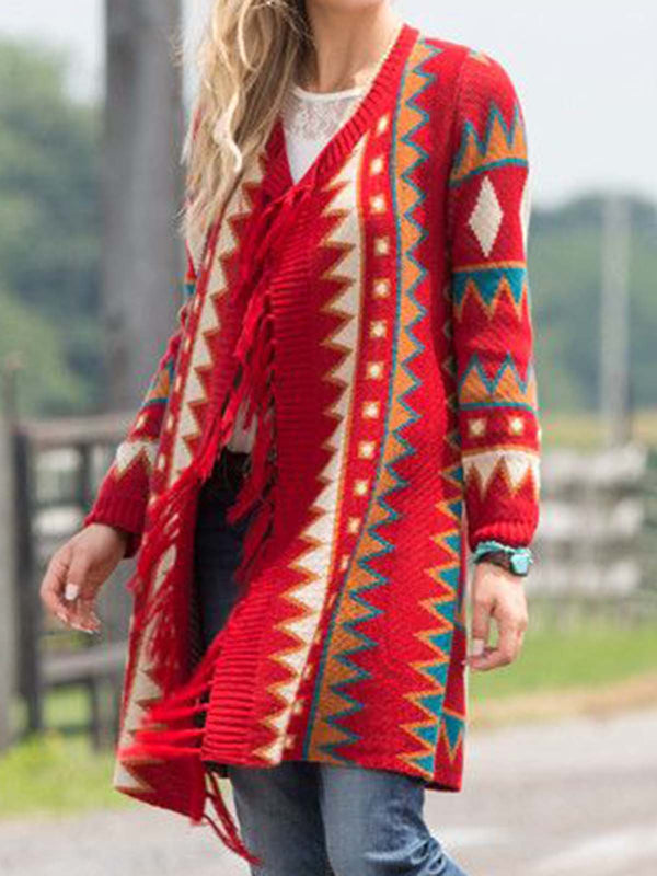 Red Knitted Color-Block Casual Outerwear