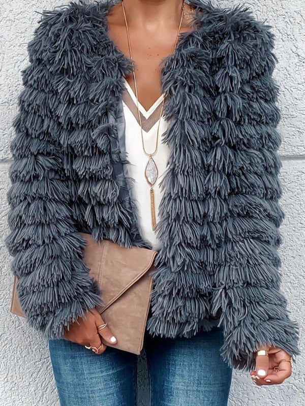 Women Fringed Long Sleeves Chic Outerwear