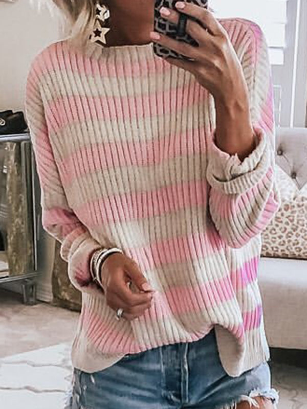 Striped Batwing Long Sleeves Casual Knitted Tops