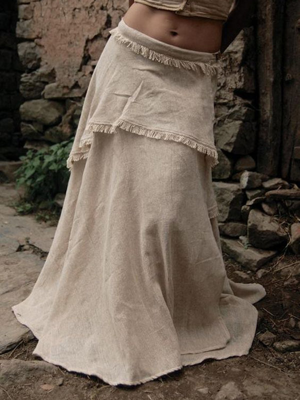 Khaki Cotton Casual Tiered Skirts