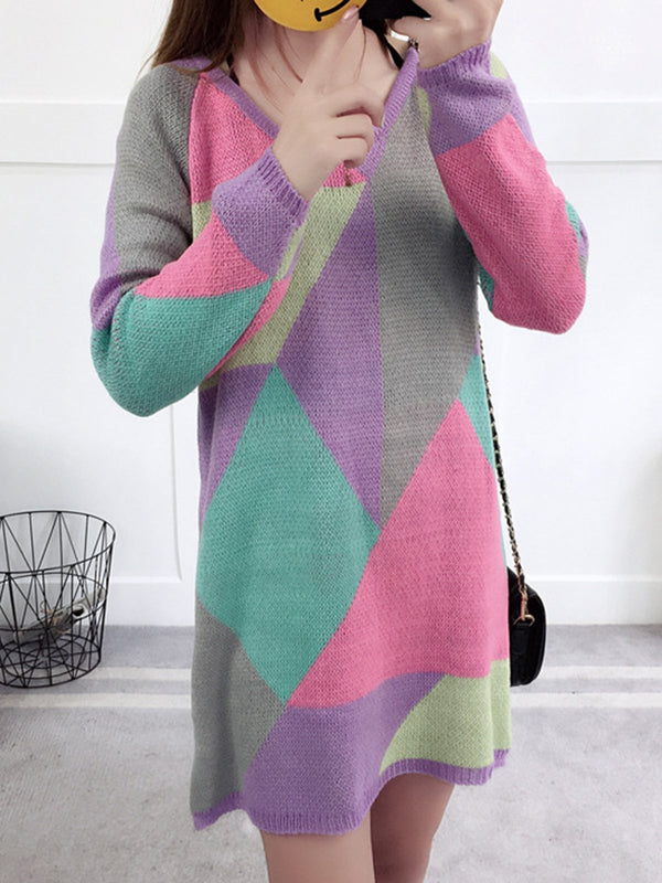 Multicolor Cotton Crew Neck Long Sleeve Paneled Shirts & Tops
