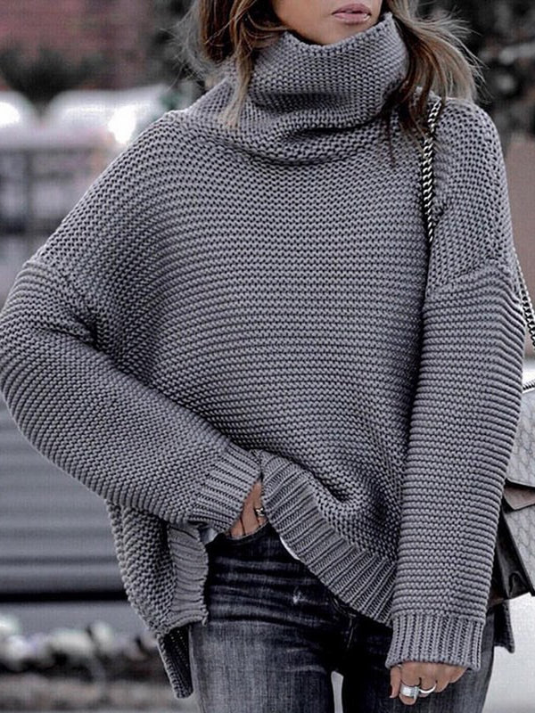 Turtleneck Drop Shoulder Solid Casual Sweaters