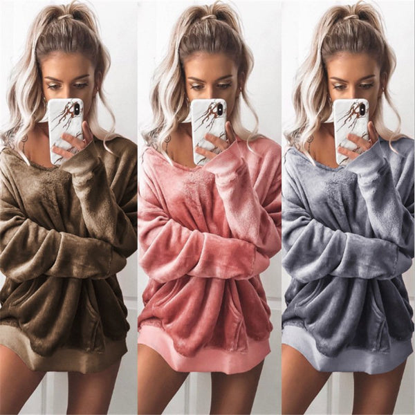 Women Casual Velvet Long Sleeve Jacket Sweatshirt