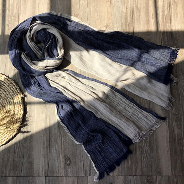 Women Color-block Casual Linen Scarves