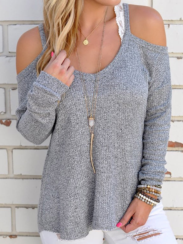 Plus Size Cotton Long Sleeve Cold Shoulder Tops