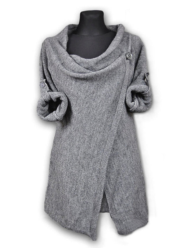 Long Sleeve Casual Buttoned Solid Plus Size Hoodie