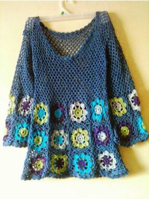 Blue Cotton Boho Knitted Tops