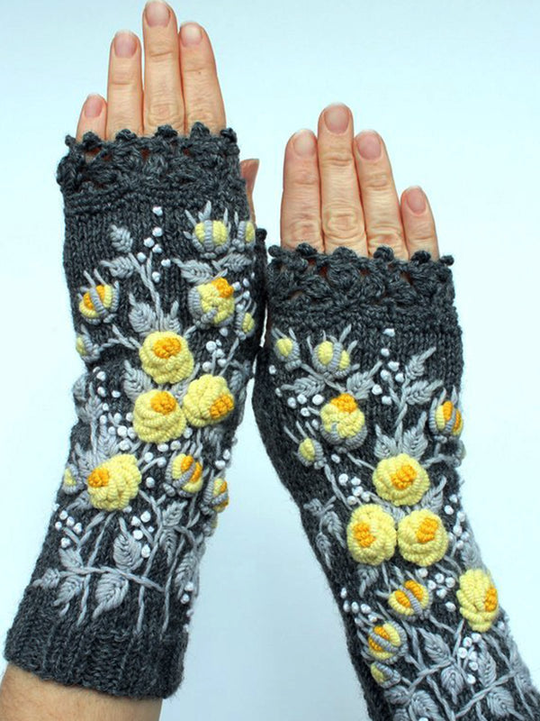 Deep Gray Casual Cotton-Blend Floral Gloves & Mittens