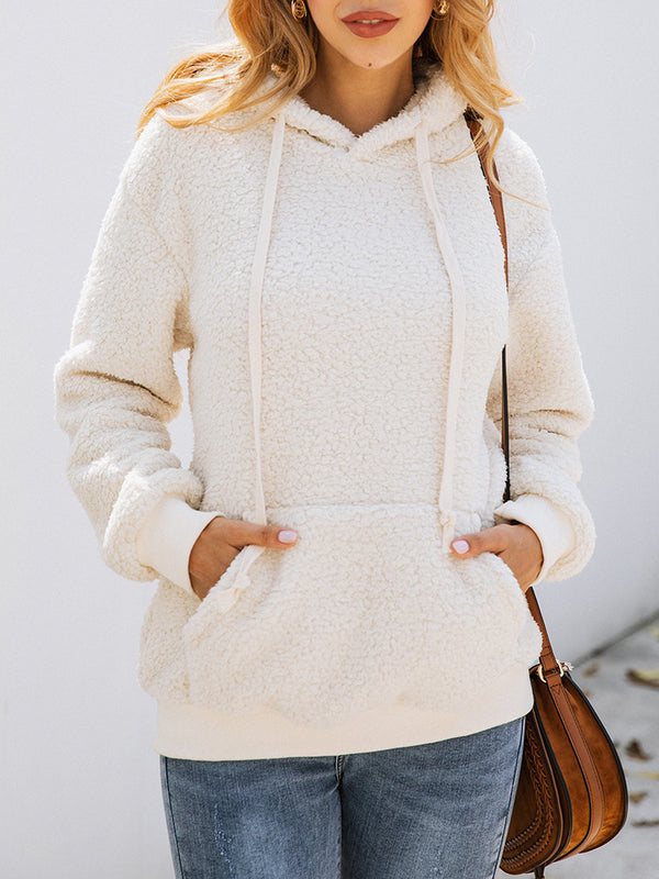 Long Sleeve Solid Cashmere Casual Outerwears Hoodies