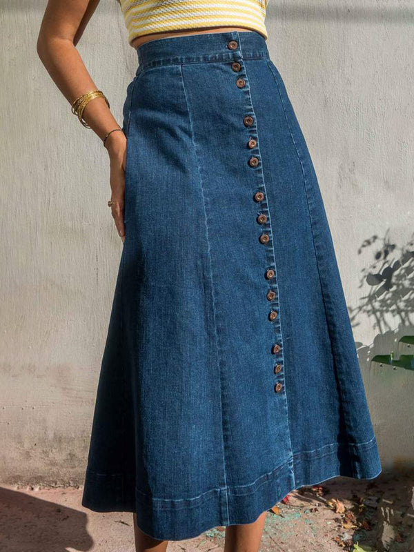 Solid Denim Skirts