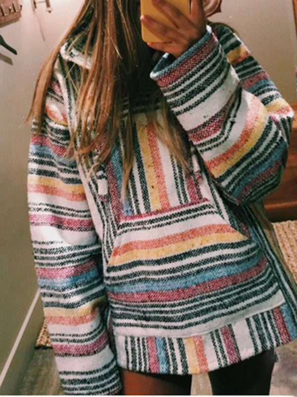 Plus Size Stripes Women Oversized Pullover Sweatshirts