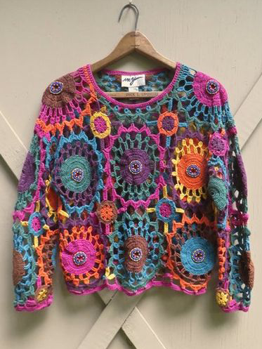 Multicolor Long Sleeve Knitted Sweater