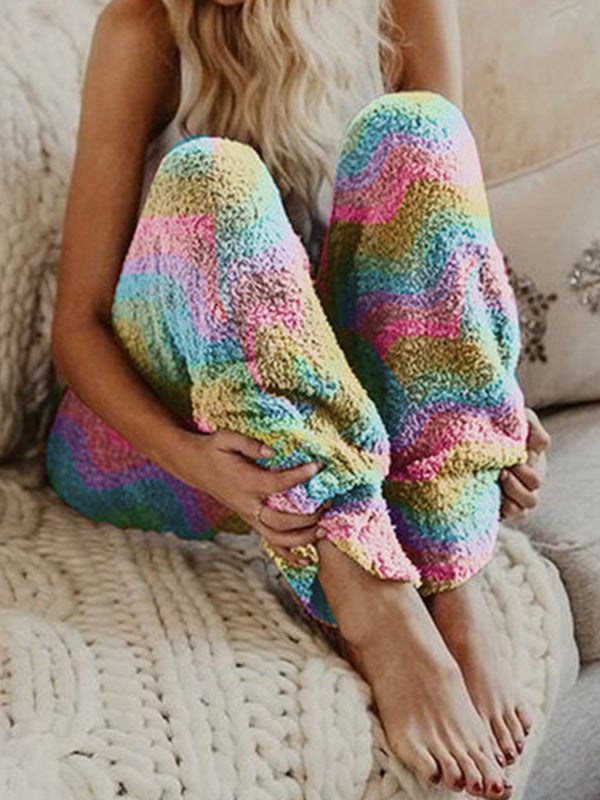 Plus Size Fuzzy Color Block Women Loose Lounge Pants
