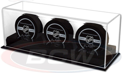BCW Deluxe Acrylic Triple Hockey Puck Display Case
