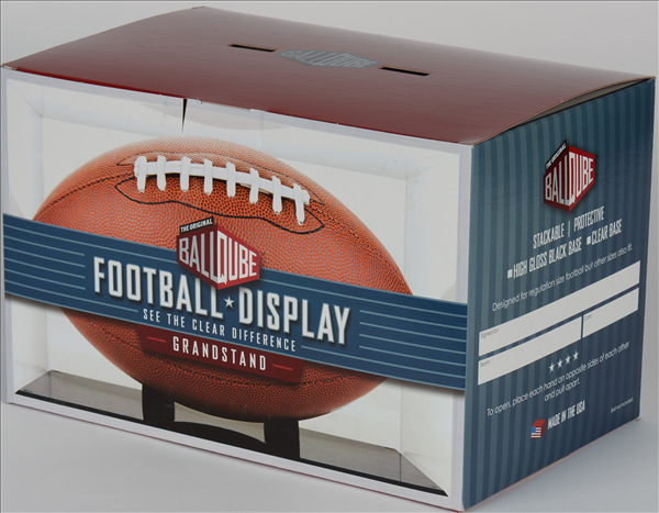 Clear Base Grandstand Football Display Case