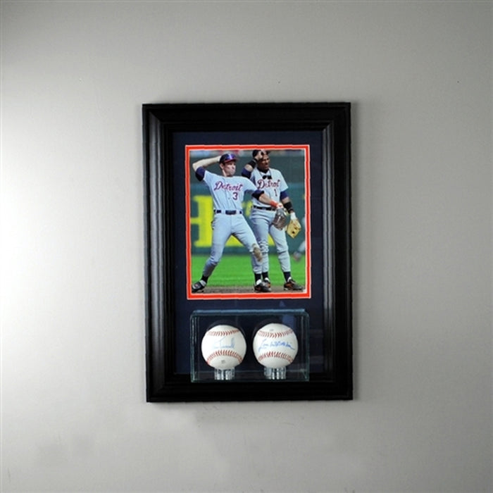Wall Mounted Double Baseball Display Case and 8x10 Photo