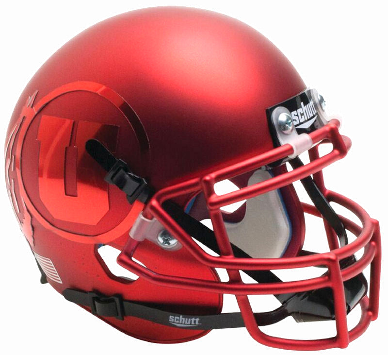 Utah Utes Schutt XP Mini Helmet - Satin Red Chrome Decal Alt