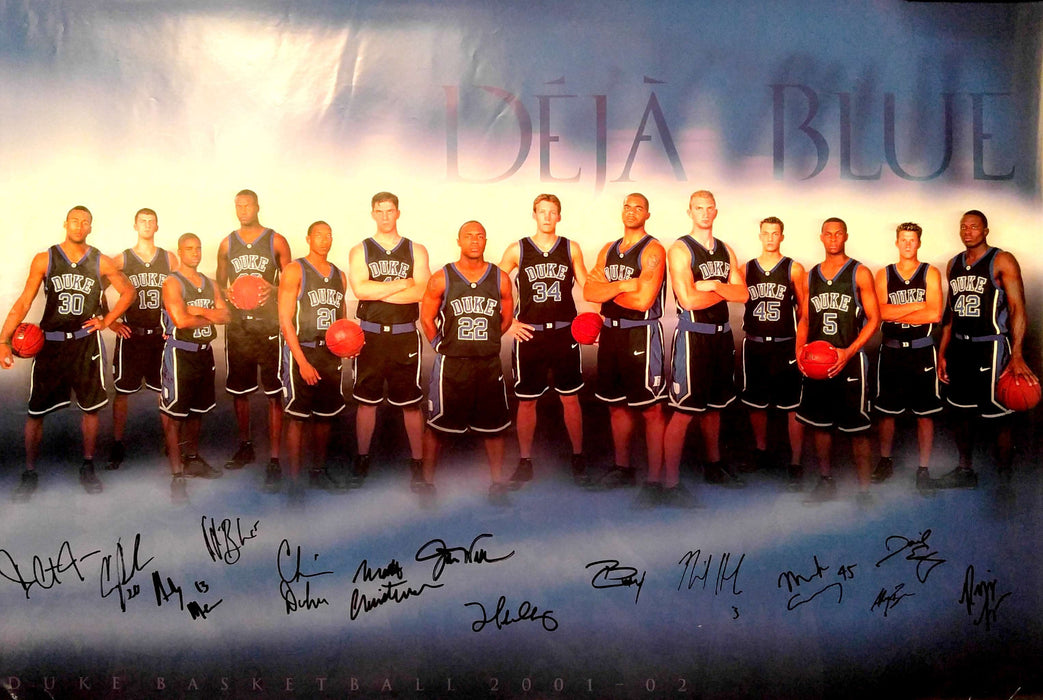 2001-02 Duke Blue Devils Autographed Team Poster (Signed by all 14 members)