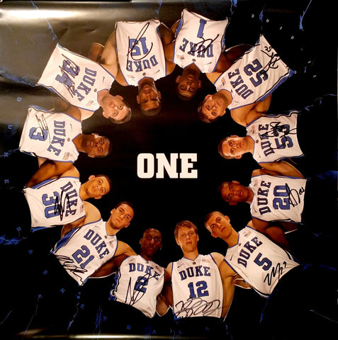 2010-11 Duke Blue Devils Autographed 27 x 27 Basketball Team Poster - All 12 Members