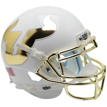South Florida Bulls Replica Schutt XP Full Size Helmet - White with Chrome Mask