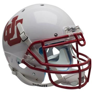 Utah Utes Authentic Schutt XP Full Size Helmet - White UU - Red Mask